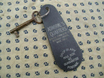 VINTAGE BRASS SKELETON  KEY & FOB  Admiral's Quarters BOOTHBAY HARBOR,  MAINE
