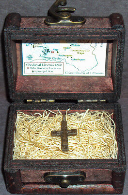 Ancient Late Medieval Bronze Cross Pendant Relic with Display Chest!