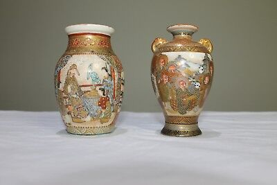 2 x Early Miniature  Satsuma  vases circa 1900. They are in very good condition.