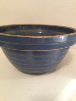 "VTG STONEWARE Shoulder MIXING BOWL1920'S Blue-USA 7""/Prim-Country-Farmhouse"