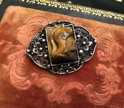 Antique Deco Sterling Silver Chinese Warrior Cameo Tigers Eye Filigree Brooch