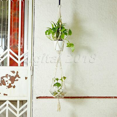 Double 2 Layer Vintage Macrame Hanger Plant Flowerpot Holder Basket Lifting Rope