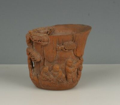 Chinese Exquisite Hand-carved child Cattle carving bamboo cup