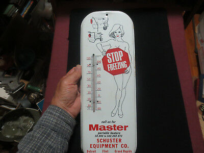 MASTER HEATERS ADVERTISING NUDIE PINUP THERMOMETER DETROIT GRAND RAPIDS c1960S