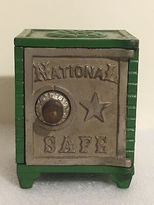 Cast Iron National Safe - Still Bank Tin Sides And Nickel Finish Rare In GREEN