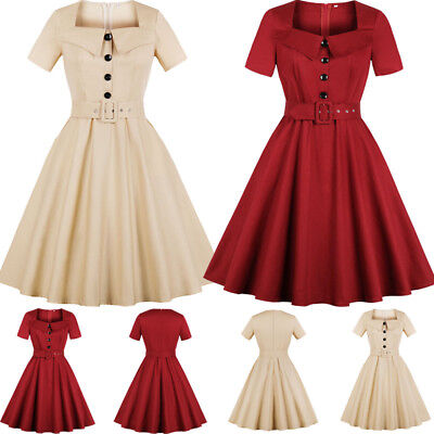 Womens 50s 60s Button Vintage Style Rockabilly Retro Laides Party Midi Dress AU