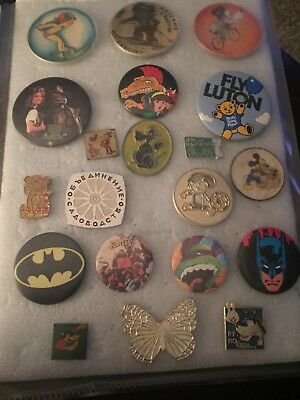 Vintage Buttons/Pins Mixed Lot Of 20 USA Russia Cartoons Mickey Mouse