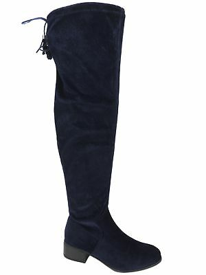 a57a4e843c4 MADDEN GIRL WOMEN S Felize Over-The-Knee Boots Navy Velvet Size 7 M ...