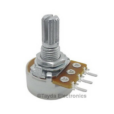 50pcs 250K Ohm B250K Knurled Shaft Linear Rotary Taper Potentiometer
