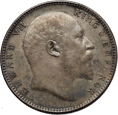 1906 King EDWARD VII of United Kingdom EMPEROR British INDIA Silver Coin i45276