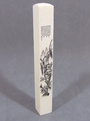 Antique China Carved Bovine Bone Post/stick/seal With Inscription & Picture