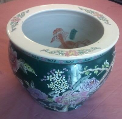 X-LARGE Vtg Asian/Oriental Koi Fish Bowl JARDINIERE Hand Painted Floral Planter