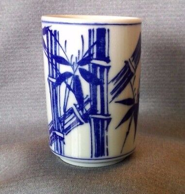 Chinese Scholar's Blue And White Bamboo Porcelain Calligraphy Brush Pot
