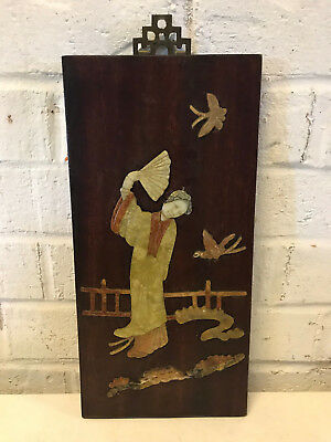 Antique Chinese Stone Carved Inlaid Wood Panel Woman Bird Butterfy Decoration