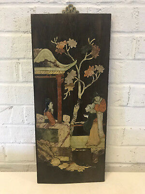 Antique Chinese Stone Carved Inlaid Wood Panel 3 Figures Tree Pagoda Decoration