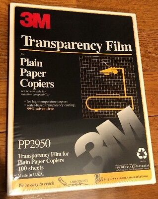 """New 3M Transparency Film For Copiers PP2950 100 Sheets 8.5"""" x 11"""" Sealed Box"""