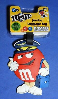 M&m Jumbo Luggage Tag * Red Peanut Airline Pilot * New With Tags