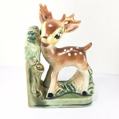 Brown Deer Fawn w/ Antlers on Grass Ceramic Vintage Bookend