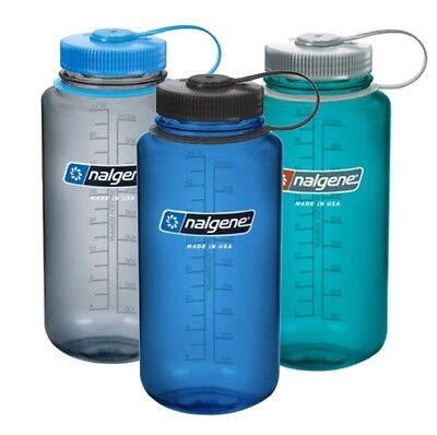 NALGENE WIDE MOUTH WATER BOTTLE BPA & BPS FREE 1L OR .5L (32oz/16oz) MADE IN USA