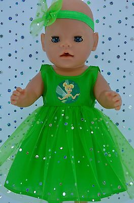 """Play n Wear Doll Clothes To Fit 17"""" Baby Born LIME SEQUIN DRESS~HEADBAND"""