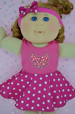 "Play n Wear Doll Clothes For 14"" Cabbage Patch POLKA DOT CIRCLE DRESS~HEADBAND"
