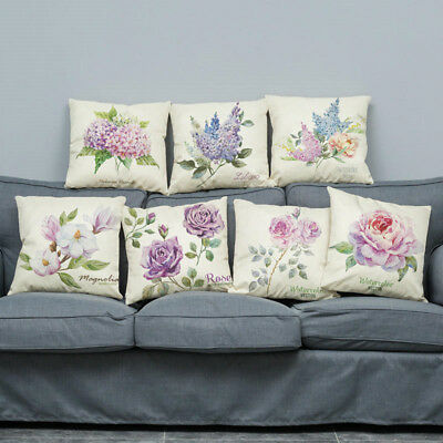 "18"" Flower Printed Pillowcase Cotton Linen Pillow Case Sofa Bed Cushion Covers"