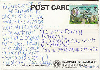 T2042 Gambia postcard to UK, 1992, solo 2D Dr Hugo Eckener stamp