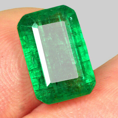 3.6CT 100% Natural Awesome Deep Green Zambia Emerald Cut Collection MQM28