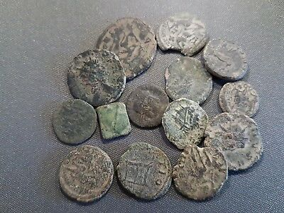 UNCLEANED IMPERIAL ROMAN COINS LOT - 15 coins - 27.51 grams - Interesting!!