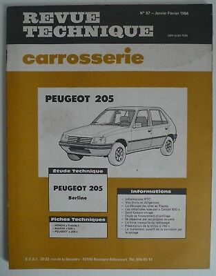 Revue Technique Carrosserie PEUGEOT 205 7 - RTC