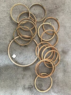 """16 x 6"""", 1 x 10"""" Wooden Embroidery Hoops - Job lot"""