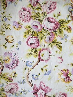 """Vintage 40S 50S  Pair Very Pretty Floral Curtains Fabric Material 2 X 45"""" X 43.5"""