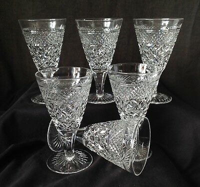 6 x Antique Webb Crystal Wine Glasses Hand Cut Etched Mark 1906 - 1935