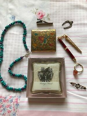 vintage? antique? job lot including silver pin tie , old Stratton compact...