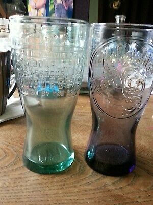 McDonalds Speedee glasses 2 retired drinking collectable  purple and green glass