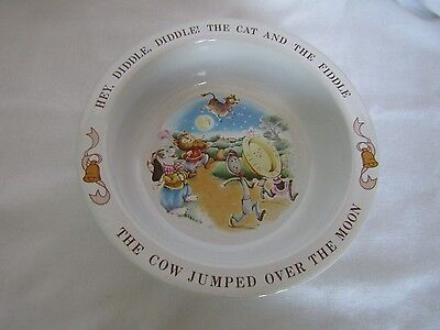 "Vintage 1984 Avon Child's ""Hey Diddle Diddle"" Nursery Rhyme Pottery Bowl"