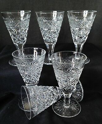 6 x Antique Webb Crystal Sherry Glasses Hand Cut Etched Mark 1906 - 1935