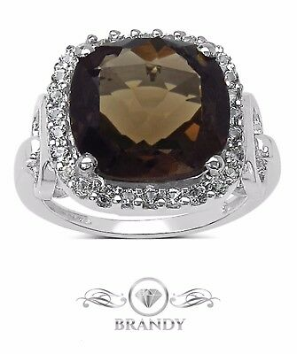 Brandy® Smoky Quartz Chocolate Brown Luxurious Cushion Designed Ring 6.75 Ct