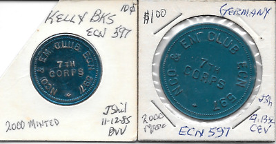Germany,Kelley Barracks, NCO & EM Club,ECN 597,7th Corps,10-1.00 Military tokens