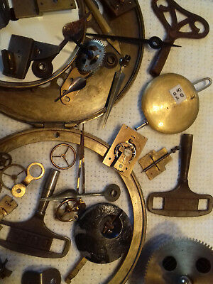 mantel clock parts pendulems flies keys etc