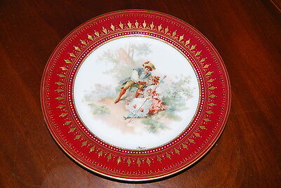 Wonderful Large Red & Gold Royal Vienna H P By Jager Romantic Cabinet Wall Plate