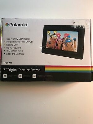 "New! Polaroid 7"" Digital Picture Frame PDF-700 -Eco-Friendly LED Display - Black"
