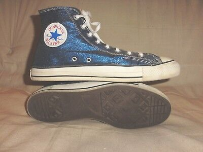 Vintage Converse Blue Lame High Tops Made In Usa Size 11 Mens