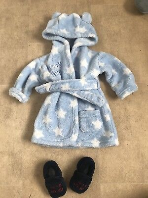 Baby Boys Dressing Gown And Slippers Age 0-6 Months
