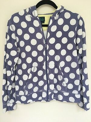 Mini Boden Girls Blue Towelling Hoodie age 13 - 14 VGC