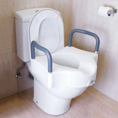 Raised toilet seat with arms for WC - NEW - FREE POSTAGE