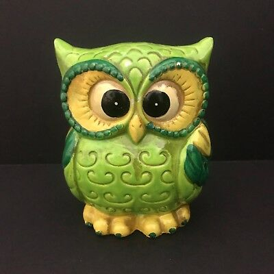 Vintage Green Yellow Plaster Owl Coin Bank Japan