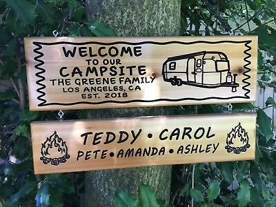 2 Piece Personalized Custom Carved Cedar Wood Family Name Camping Campsite Sign