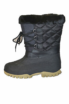 WFS Womens SUGARLOAF SNOWBOOTS WINTER shoes size 7 NEW BLACK FUR LACE UP