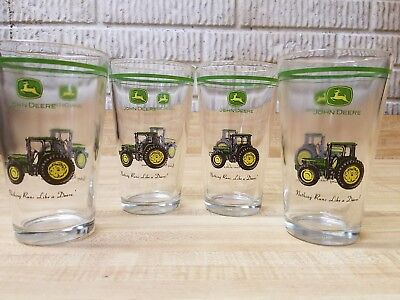 Gibson John Deere Set of 4 - 16oz Conical Tumblers, Drinking Glasses NIB